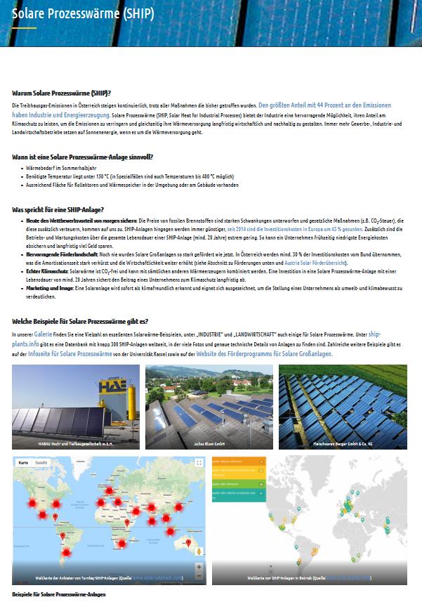 Screenshot der Austria Solar Infoseite zu Solarer Prozesswärme
